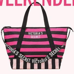 Pink Stripe Expandable Weekender Tote